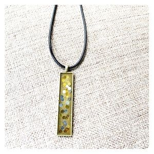 "Jewelry - Glitter long thin pendant 18"" black chord necklace"